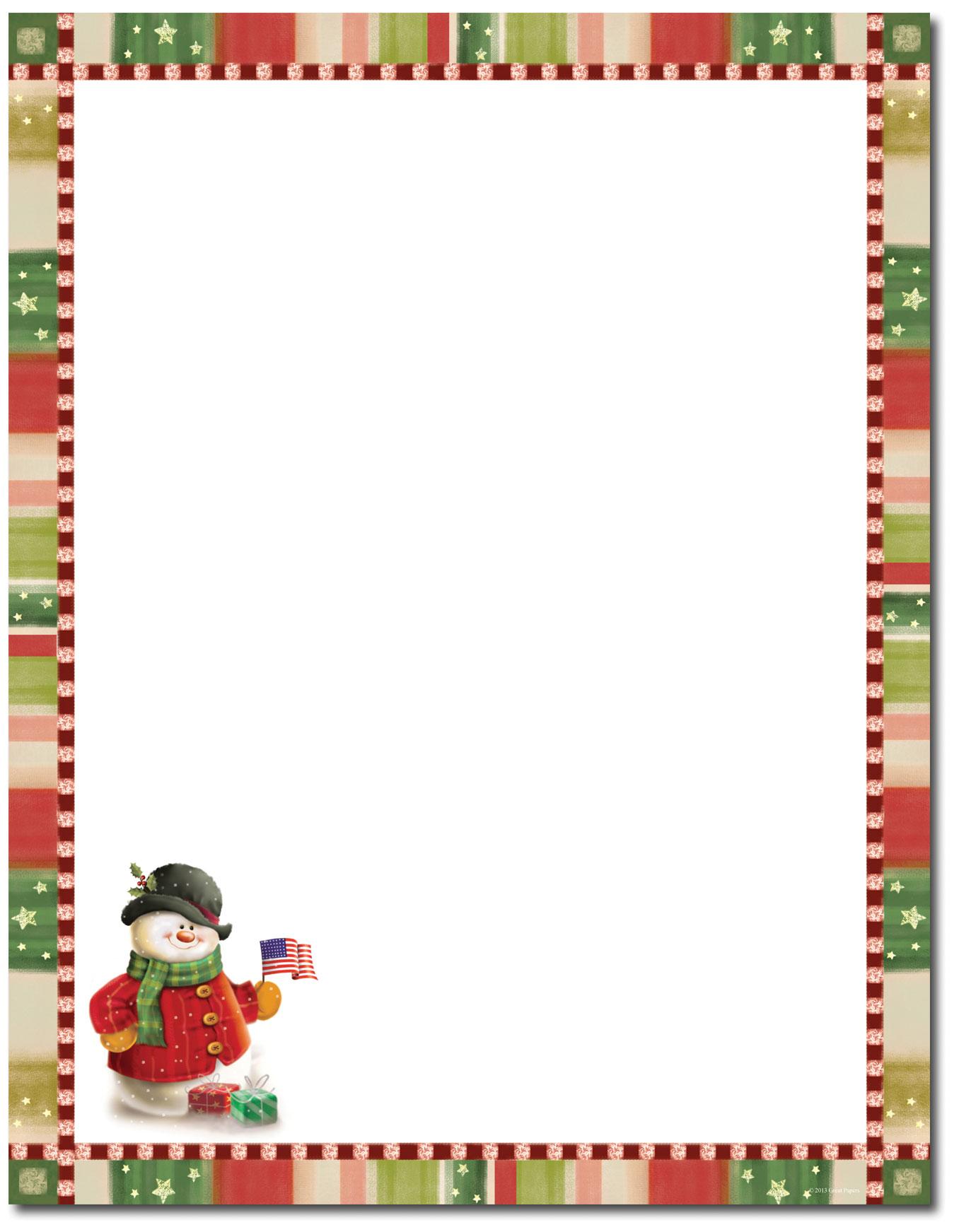 Patriotic Snowman — Holiday Stationery — 8 1/2″ x 11″ — 80 Sheet ...