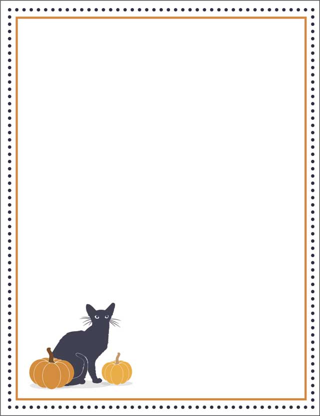 Pumpkin Cat Fall Stationery 50 Sheets
