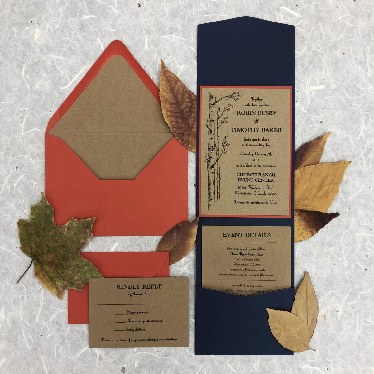 Attractive Affordable Fall Wedding Invitations Frieze - Invitations ...